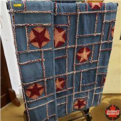 Denim Rag Doll Quilt (Burgundy Stars) 84  x 93