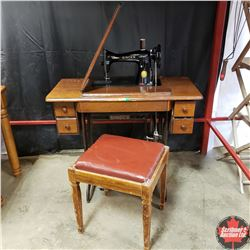 Singer Treadle Sewing Machine w/Contents S/N#JC915502