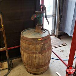 """Wooden Barrel (30"""" H) AND Pump (18"""" H)"""