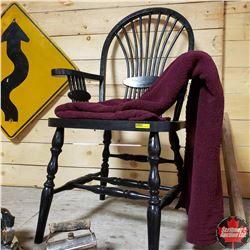 Black Chair w/Burgundy Throw