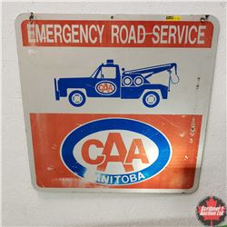 """Metal Sign - Double Sided """"Emergency Road Service CAA Manitoba""""  (24"""" x 24"""")"""