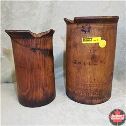 """G. ""Crown Symbol"" R Canada"" Wooden Pitchers (2): Half Gallon & Quart"