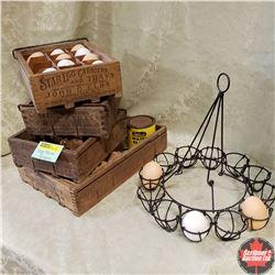 Vintage Wooden Egg Crates (4) & Wire Hanging Egg Basket