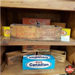 Cheese Box Collection - Variety Brands ! (5 Wooden, 4 Cardboard & Little Cast Mouse)
