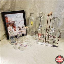 Tray Lot - Dairy Collection: Milk Bottles, Wire Carrier, Thermometer, Cream Spoons, Small Creamers,