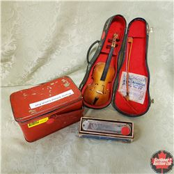 Tiny Violin & Prairie Lunch Box & Harmonica