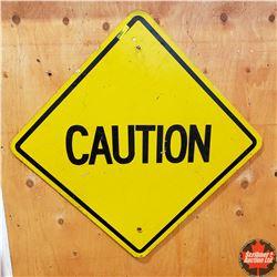 "Metal Sign: Caution (24"" x 24"")"