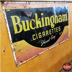 "Metal Sign: Buckingham Cigarettes Throat Easy (59"" x 35"")"