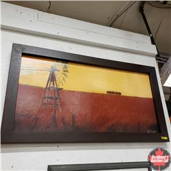 """Framed Home Décor Picture """"Field / Windmill""""  (40"""" x 22"""")"""