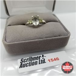 CHOICE OF 26 RINGS:  1546 Ring - Size 10: Green Amethyst - Sterling Silver  - Platinum Bond Overlay