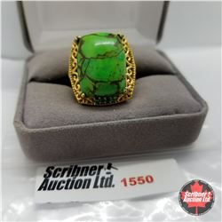 CHOICE OF 26 RINGS:  1550 Ring - Size 7: Green Turquoise - Sterling Silver - 18k ION Plated Bond Ove