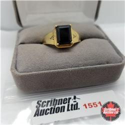 CHOICE OF 26 RINGS:  1551 Mens Ring - Size 10: Black Spinel - Sterling Silver - 14k Overlay
