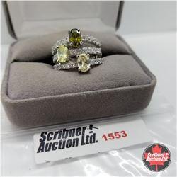 CHOICE OF 26 RINGS:  1553 Ring - Size 8: Sim Yellow & Green Sapphire Sim Peridot - Sterling Silver -