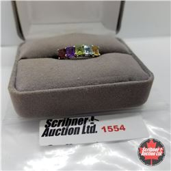 CHOICE OF 26 RINGS:  1554 Ring - Size 8: Multi Color - Sterling Silver