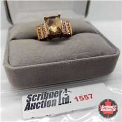 CHOICE OF 26 RINGS:  1557 Ring - Size 7: Titanium Quartz - Rose Gold Overlay