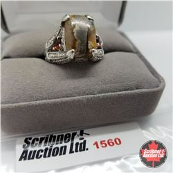 CHOICE OF 26 RINGS:  1560 Ring - Size 9: Peanut Wood (Platinum Overlay)