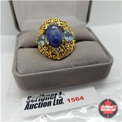 CHOICE OF 26 RINGS:  1564 Ring - Size 8: Sodalite Topaz - Sterling Silver - Platinum Bond Overlay