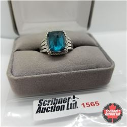 CHOICE OF 26 RINGS:  1565 Ring - Size 8: Blue Stone - Sterling Silver - Titanium Quartz Stainless