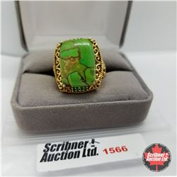 CHOICE OF 26 RINGS:  1566 Ring - Size 9: Green Turquoise - Sterling Silver - Platinum Bond Overlay