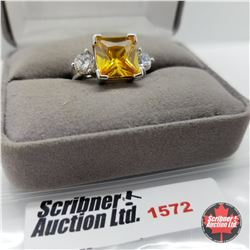 CHOICE OF 26 RINGS:  1572 Ring - Size 7: Sim Yellow Diamond - Sterling Silver