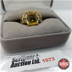 CHOICE OF 26 RINGS:  1573 Ring - Size 7: Citrine Topaz - Sterling Silver - Platinum Bond Overlay