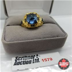 CHOICE OF 26 RINGS:  1579 Ring - Size 7: Titanium Blue - Sterling Silver - 18k ION Plated Bond Overl