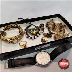 1481 Jewellery Grouping: Watch ; 4 Rings (Asst Size); 2 Necklaces; 1 Pair Earrings; 3 Bracelets