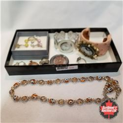 1519 Jewellery Grouping: 6 Rings (Asst Size); 2 Watches; 1 Bracelet; 4 Pair Earrings; 2 Necklaces