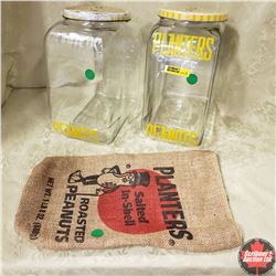 Planters Peanuts Combo: 2 Counter Top Confectionery Jars & Sack