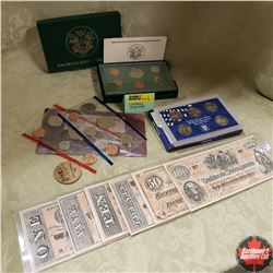 Currency Collection: US Mint Sets, Wooden Nickel, Confederate Reproduction Bills
