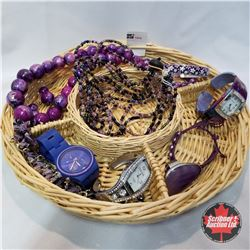 1474 Jewellery Grouping: 3 bracelets; 2 Necklaces; 3 Watches; 1 Pair Earrings; 1 Ring (Adjustable)