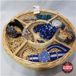 1454 Jewellery Grouping:  7 Bracelets; 3 Watches; 1 Necklace; 1 Pair Earrings