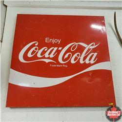 "Enjoy Coca-Cola Sign w/Orig Brackets (44"" x 44"")"