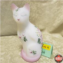 "Fenton Glass White Cat (5"" H)"