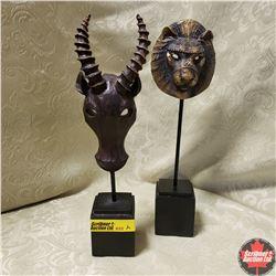 """2 Miniature African Masks (Lion & Water Buffalo) (9"""" H)"""
