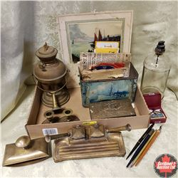 Tray Lot - Brass & Ship Themed Items: Lamp, Pen Holder w/Ink Wells, Candle Holders, Fountain Pens/Ni