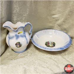 Pitcher & Basin (White & Blue Victorian design)