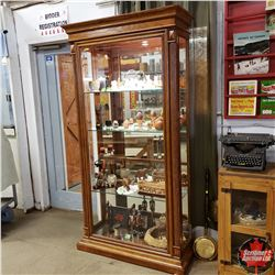 """China Cabinet - Side Entry - Bevelled Front Glass & Mirror Interior Back - Lighted ! (41"""" W x 16""""D x"""