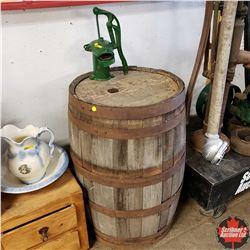 """Wooden Barrel (35"""") w/Hudson Pump (13"""")"""