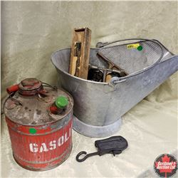 Combo: Coal Skuttle w/Variety of Tools & Gas Can