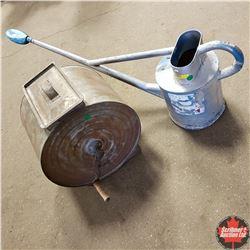 Tin Watering Can & Tin Butter Churn