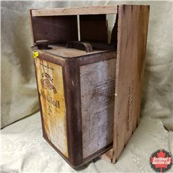 """Mobil Oil Square Tin (14""""H x 9""""W) with Wooden Crate (19""""W x 10""""H x 12""""D)"""