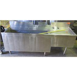 Large Stainless Ice Bin w/Drain Board