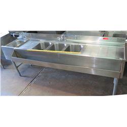 "Eagle Group 4-Basin Dish Washing Sink, Model YBAR-0108-00, Approx. 7'W x 27.5""D x 33""H"