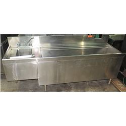 """Stainless Ice Well w/ Left Mount Sink, 77""""W x 24""""D x 29""""H"""