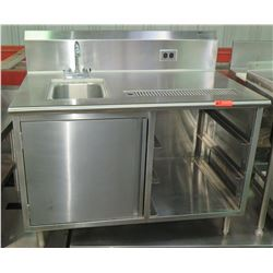 "Stainless Prep Table w/ Sink, Tray Holders, Storage Compartment 48""W x 28""D x 34""H"