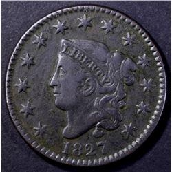 1827 MATRON HEAD LARGE CENT VF/XF