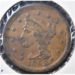 1852 LARGE CENT, XF/AU