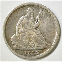 1837 NO STARS SEATED LIBERTY HALF DIME VF
