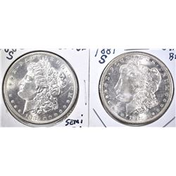 1880-S SEMI-PL & 81-S GEM BU MORGAN DOLLARS